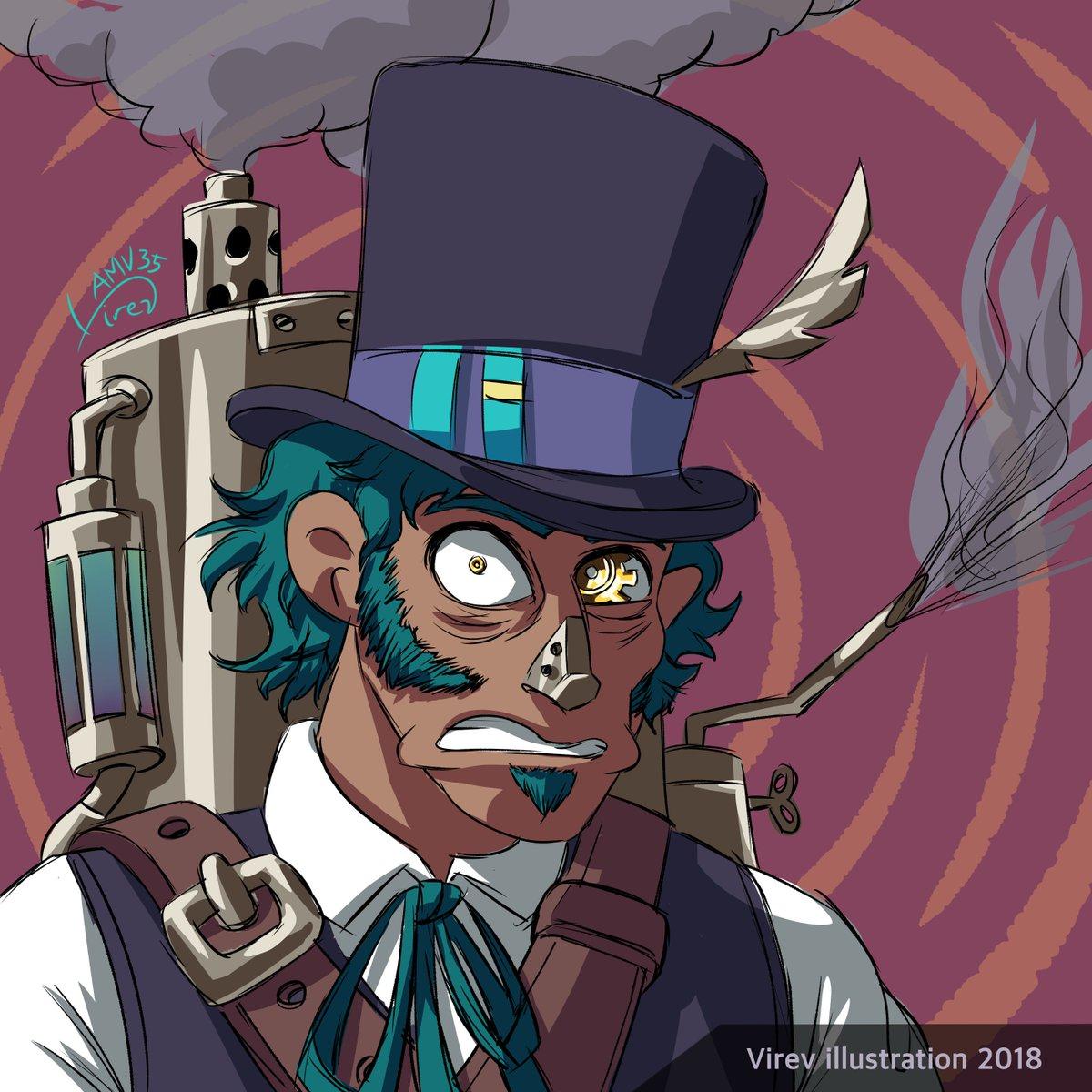 Daily #steampunk 5/12 a fine gentleman! #steampunkguy #steampunkgentleman #tophat #illustration