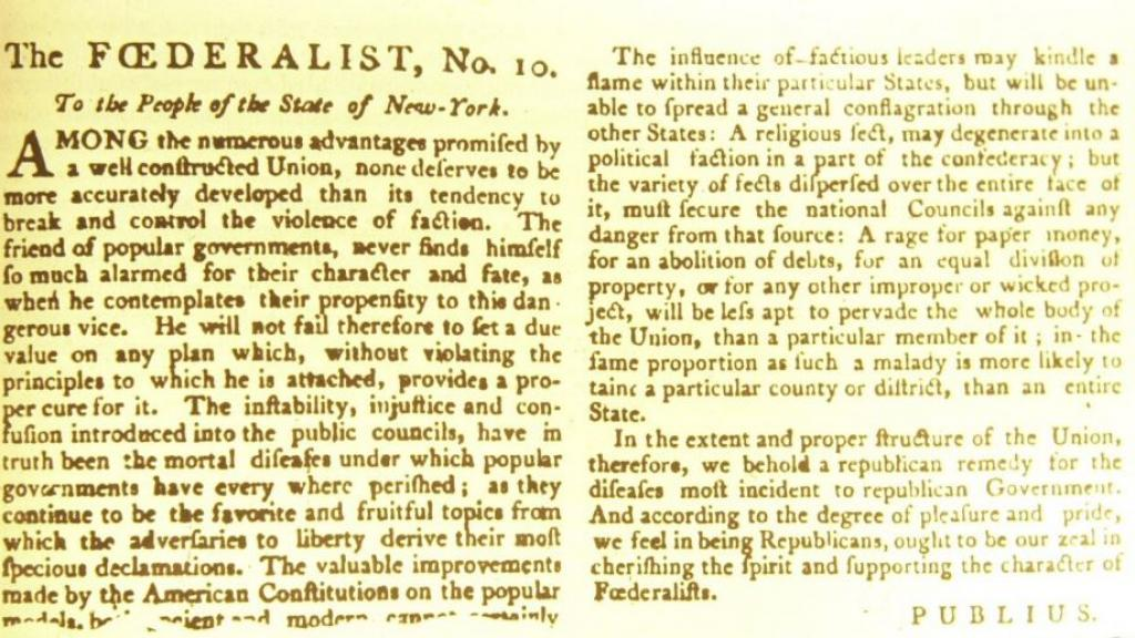 Image result for federalist no. 10