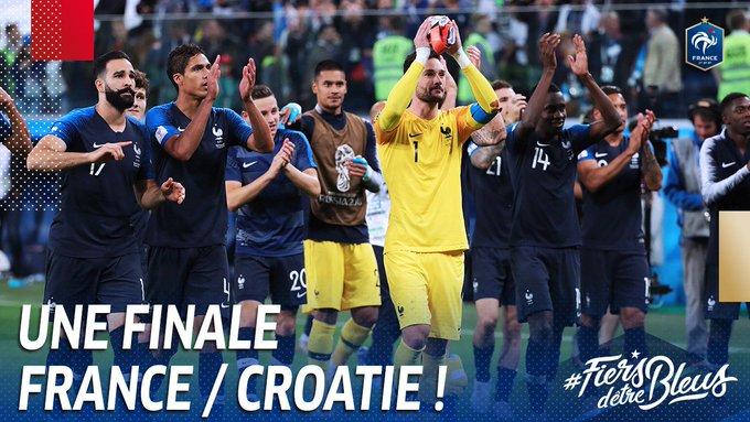 On affrontera la Croatie dimanche à 17h00 en Finale de la Coupe du Monde !! 👊 #FiersdetreBleus #FRACRO Foto