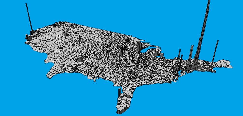 Simon Kuestenmacher On Twitter 3d Population Density Map Of The - Population-density-map-of-the-us