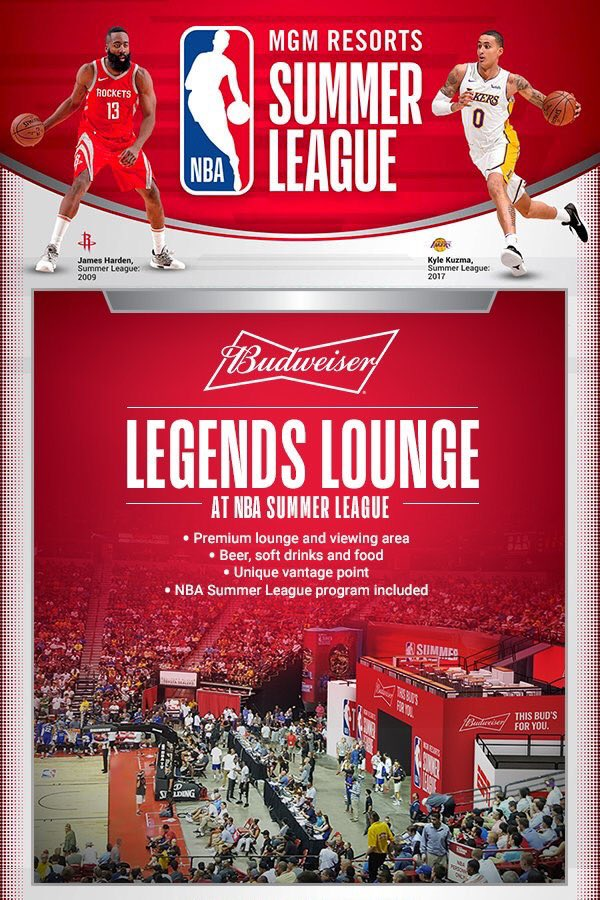 See the @NBASummerLeague in style at the Budweiser Legends Lounge!   More info: https://t.co/3JaBQUI3Ir https://t.co/Dh5ozfQOJF