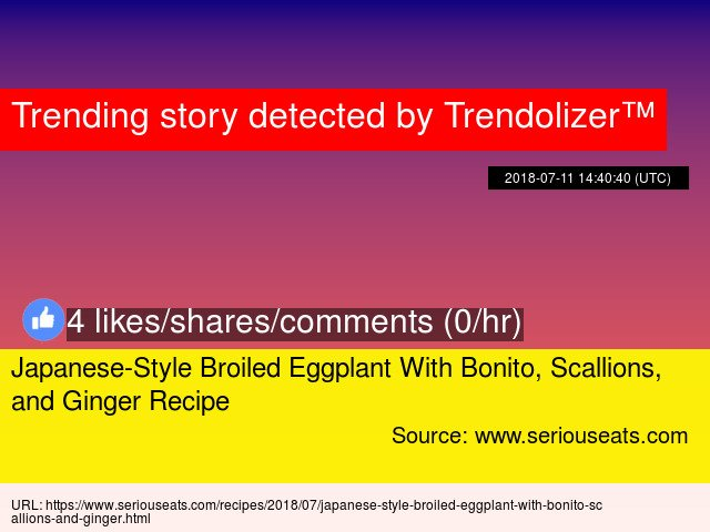 Japanese-Style Broiled Eggplant With Bonito, Scallions, and Ginger Recipe https://t.co/wTEZ6vtkAQ https://t.co/Oz3xW2VCPb
