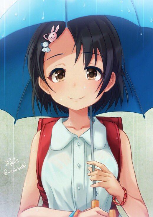 おはようございます。プロデューサーさん急な雨で濡れませんでしたか?千枝の傘に…いっ…一緒に入りませんか?って感じに…楽描きしました♪  #佐々木千枝
