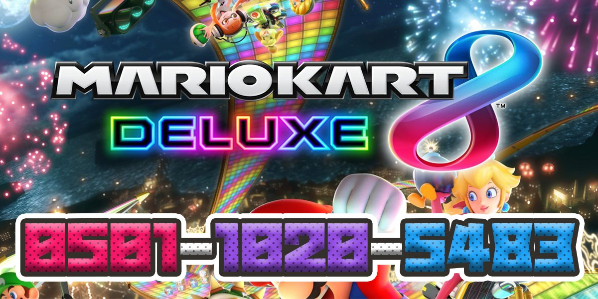 ... Open Mario Kart 8 Deluxe Tournament! Tournament Code: 0501-1020-5483 My Friend Code: 8500-4214-8628 SHARE AND INVITE YOUR FRIENDS!