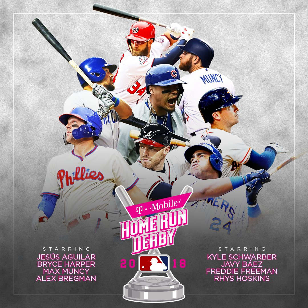 Dingers on deck.   Here's the field for the 2018 @TMobile #HRDerby. https://t.co/bhBnC5k92X
