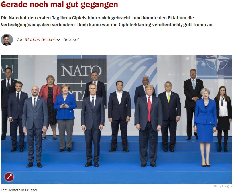 Spiegel Online says that the first day of the Nato summit in Brussels 'can be summed up in five words: it could have been worse'.