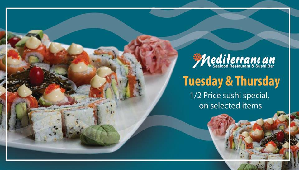 Make sure you pop into the #mediterraneanseafood for their ever popular 1/2 price sushi served every Tuesday and Thursday!    Situated in the @riversidemall  visit them today!   #liveworkshopplay