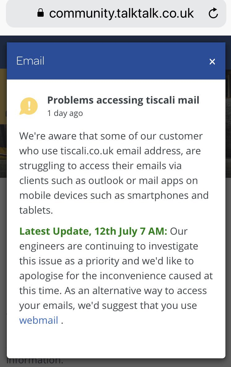 My Talktalk Webmail >> Talktalk On Twitter To Establish If You Are Affected By