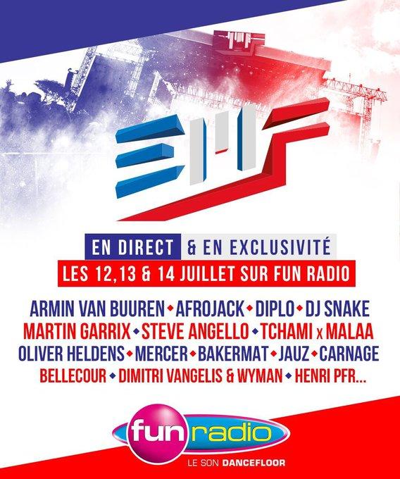 Les 12, 13 et 14 juillet #FunRadio vous diffuse les mixs des plus grands DJs présents à l'@electrobeach en direct 🙌🏼 #EMF2018 Photo