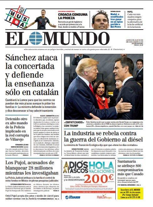 ☕️📰 Buenos días. La portada de EL MUNDO #FelizJueves Photo