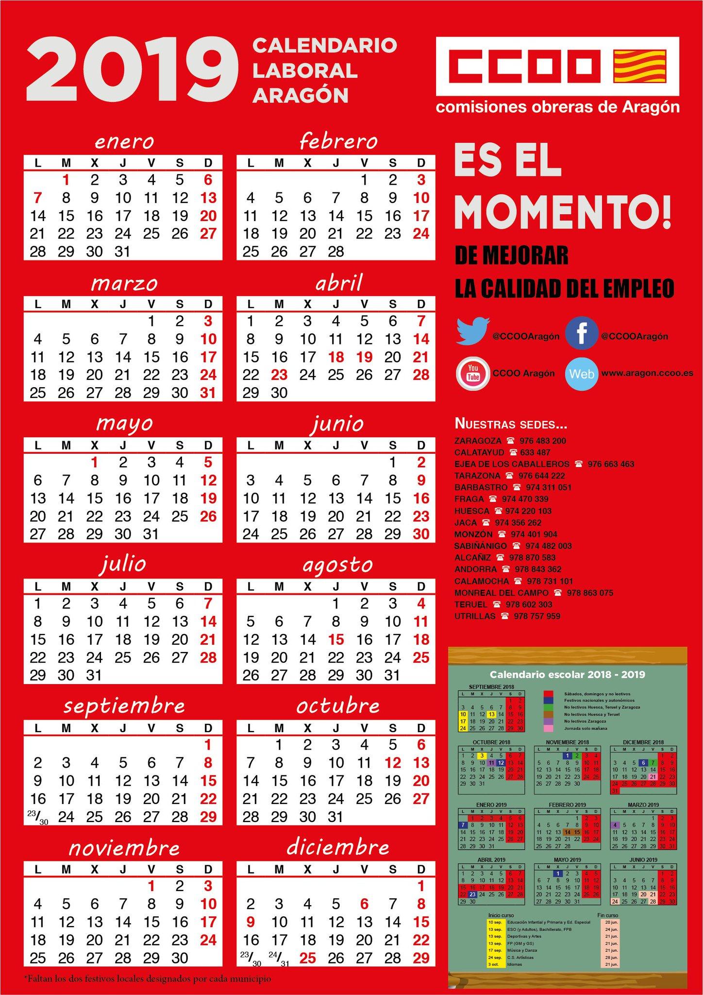 Calendario Escolar 2019 Aragon.Comisiones Obreras Aragon Eselmomento On Twitter Calendario