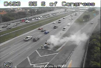 NOW: Vehicle fire on I-95 NB near Congress Ave. Two lanes blocked. @CBS12<br>http://pic.twitter.com/pD7ZLxJuRh