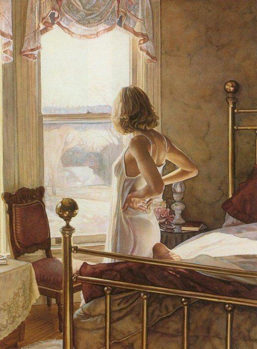 スティーブ・ハンクス(1949-2015) アメリカの水彩画家。自身のスタイルをエモーショナル・リアリズムと呼び、モデルの顔をはっきりとは描かず、仕草やポーズといったモデルの身体から伝えられる感情表現を重んじている。