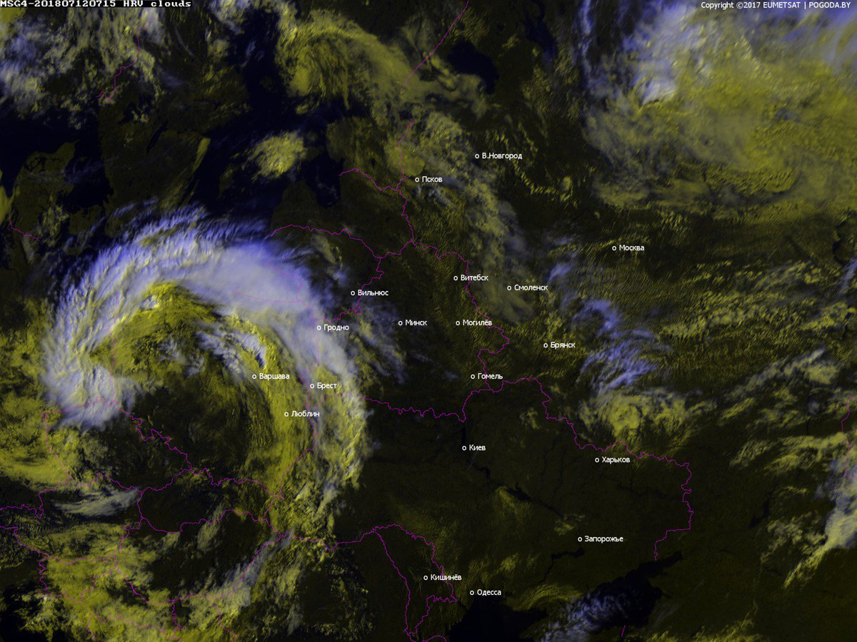 Как выглядит обрушившаяся на Брест непогода из космоса