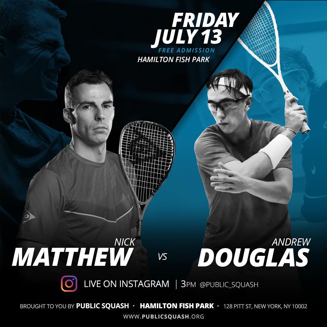 test Twitter Media - 3x World Champ @nickmatthew will play US teenager @dougie24934 in a special exhibition match at @public_squash's outdoor public #squash court in New York tomorrow at 15:00!  @public_squash will be streaming it live on their @instagram page ⬇️  https://t.co/r9FyHAVgMW https://t.co/WNVELaXxu4