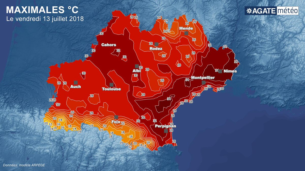 Le Sud dans le rouge. La région #Occitanie va vivre une nouvelle fois sous un soleil scintillant.  Les maximales sont pour le littoral où les températures pourront grimper jusqu\