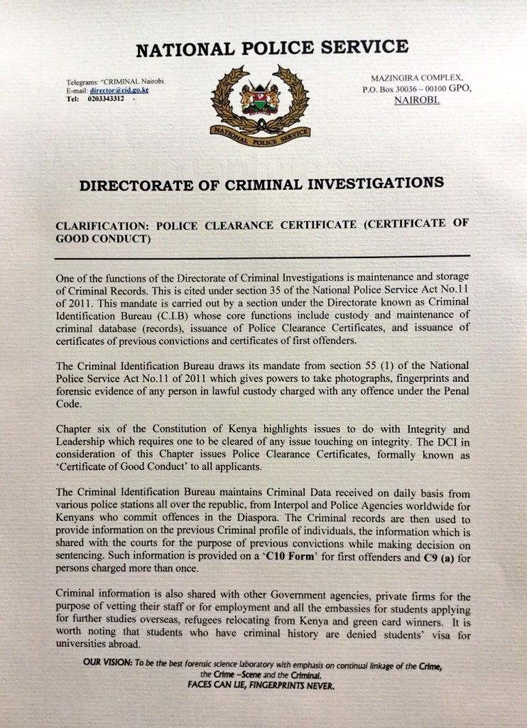 Dci Kenya On Twitter Clarification Police Clearance Certificate