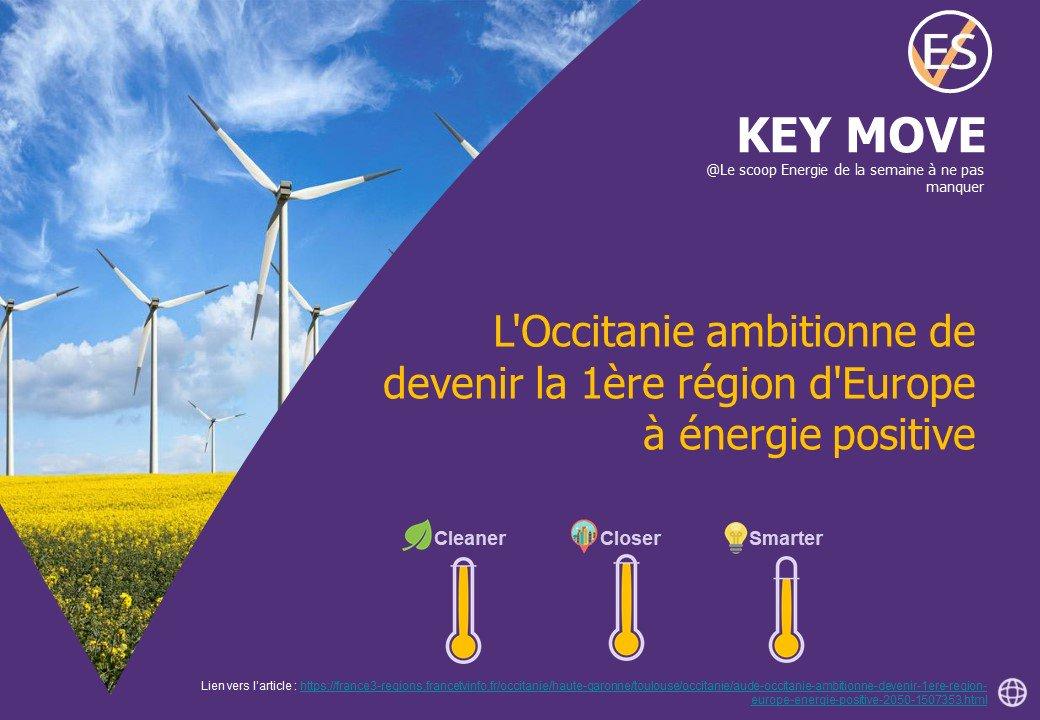 [#KeyMove] Déjà deuxième région française pour la production d'#ENR , la région #Occitanie ambitionne de devenir la première à énergie positive en Europe d'ici 2050. Soit une cible de 100% de ses besoins en énergie couverts par le renouvelable !  - FestivalFocus