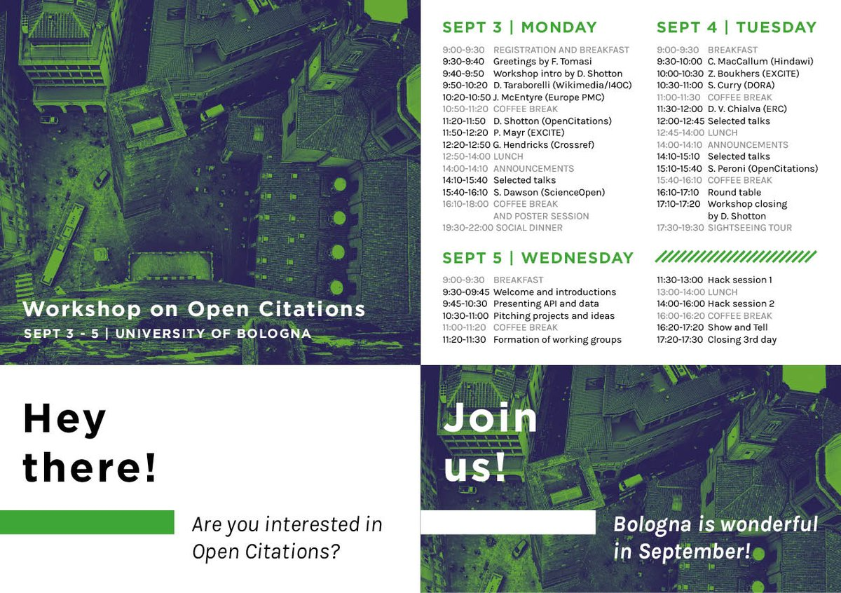Hey there! Are you interested in Open Citations? There are still 5 places available if you want to participate to the two-day workshop! See the programme and the beautiful badge you&#39;ll get in advance! We are looking forward to seeing you in Bologna #opencitations #Bologna<br>http://pic.twitter.com/pQOkQ6xf9N