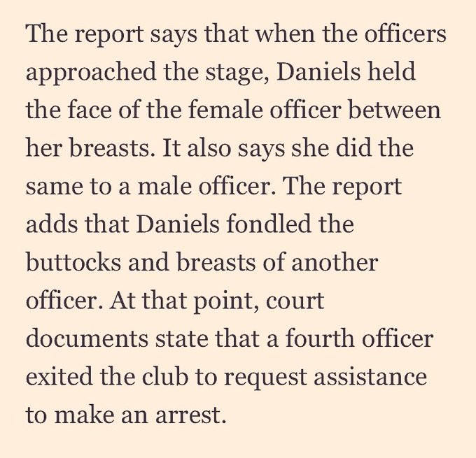 Stormy Daniels was arrested in Ohio. Daniels held the face of the female officer between her breasts. #MeToo #ThursdayThoughts Photo