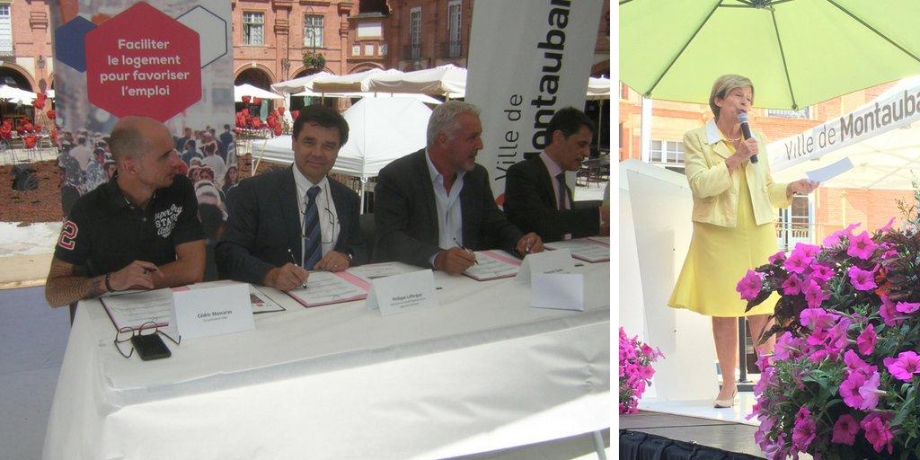 [Retour en images]  Signature le 10.07 de la convention #ActionCœurdeVille @villemontauban : @BrigitteBareges, #PhilippeLafforgue membre du comité régional @ActionLogement #Occitanie, @ANAH_Officiel, @caissedesdepots  - FestivalFocus