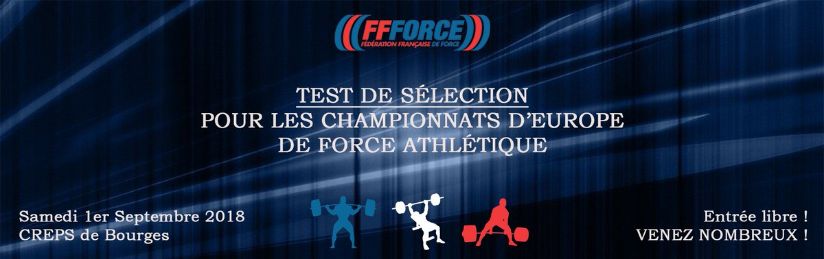 Rendez-vous le 1er septembre 2018 au CREPS de Bourges pour assister au test de sélection des #championnats d\
