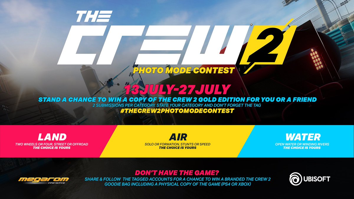 Use The Tag TheCrew2PhotomodeContest Stand A Chance To WIN COPY OF THE CREW 2 GOLD EDITION For You Or Friend Platform Of Your Choice
