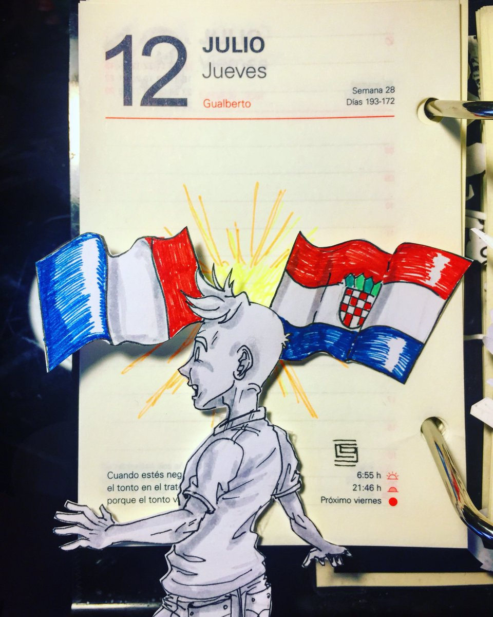 The World Cup final is set! Croatia vs France. Congratulations to both teams!!  #calendarcomic #officeart #drawing #dessin #dibujo #worldcup  #worldcup2018 #russia2018 #soccer #futbol #football #croatia #france #miercoles #wednesday #mercredi #dailydoodle #doodleoftheday<br>http://pic.twitter.com/t5RByZx9aJ
