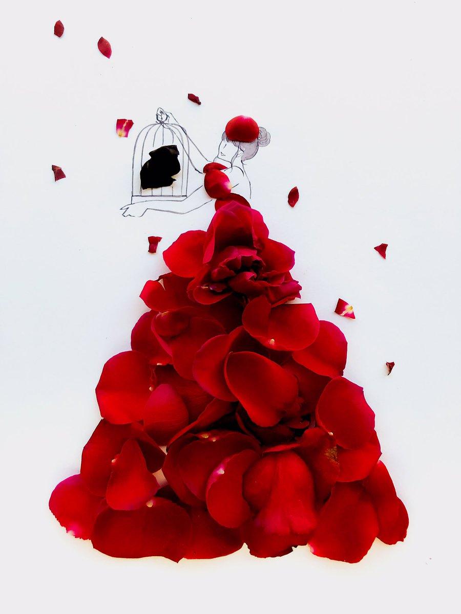 黒いバラと赤いバラのドレス  花言葉は「美」