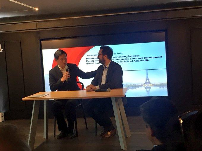 «La France et Singapour partagent des valeurs communes , des valeurs d'innovation , des valeurs de bien-être et nous pensons qu'un réseau de talents et d'entreprises entre la France et Singapour est nécessaire pour être tout plus créatifs et innovants» Ministre Chan #PartSingapFr Photo