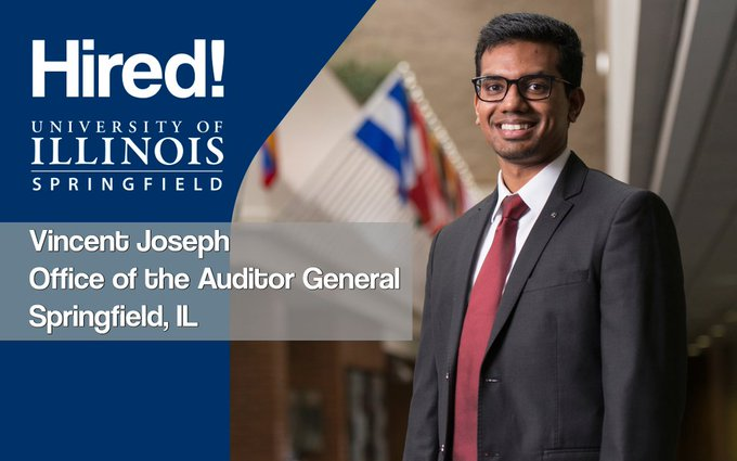 #UISedu graduate computer science major Vincent Joseph got hired! He recently graduated with a job lined up at the Office of the Illinois Auditor General. Congratulations! https://t.co/hAfGNfC3QJ