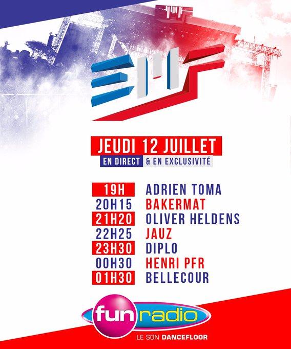 Écoutez les sets des plus grands DJs en direct de l'@electrobeach toute la soirée sur #FunRadio 🇫🇷🎊 #EMF2018 Photo