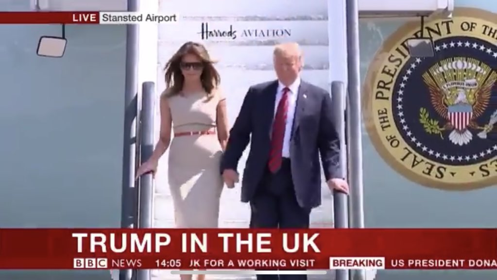 US President Donald Trump has Landed in UK for Visit