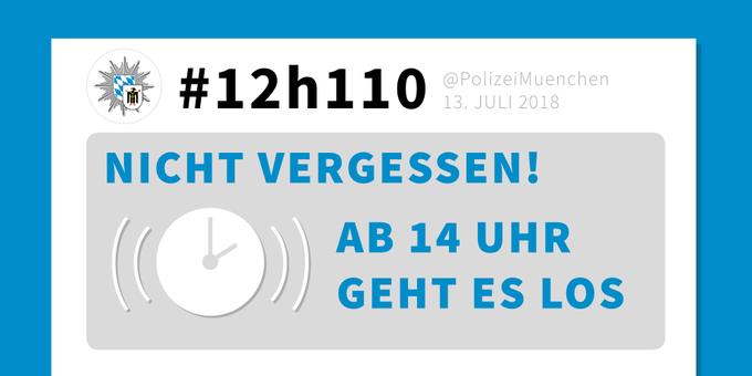 #Reminder: Wir twittern ab 14 Uhr 12 Stunden über die Einsätze in unserem Präsidium. Lest mit und stellt uns Eure Fragen. #12h110 Foto