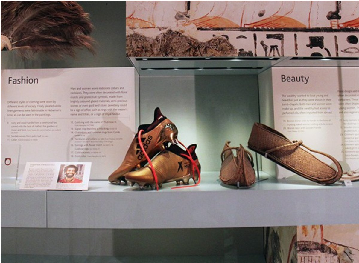 American Research Center In Egypt On Twitter On Display At The Britishmuseum Egyptian Footballer Mo Salah S Boots Next To A Pair Of 3 300 Year Old Ancient Egyptian Sandals Worldcup Thepharaohs Https T Co Pmyupwlzni