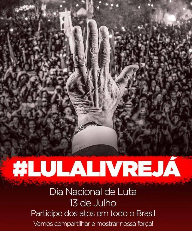 Lula é preso político e não ficaremos calados com a injustiça de um judiciário parcial e golpista! É por isso que vamos às ruas lutar por #LulaLivre! Próxima sexta, dia 13, será o Dia Nacional de Luta, com atos em todo o Brasil. Participe! https://t.co/c94QnL8kYB