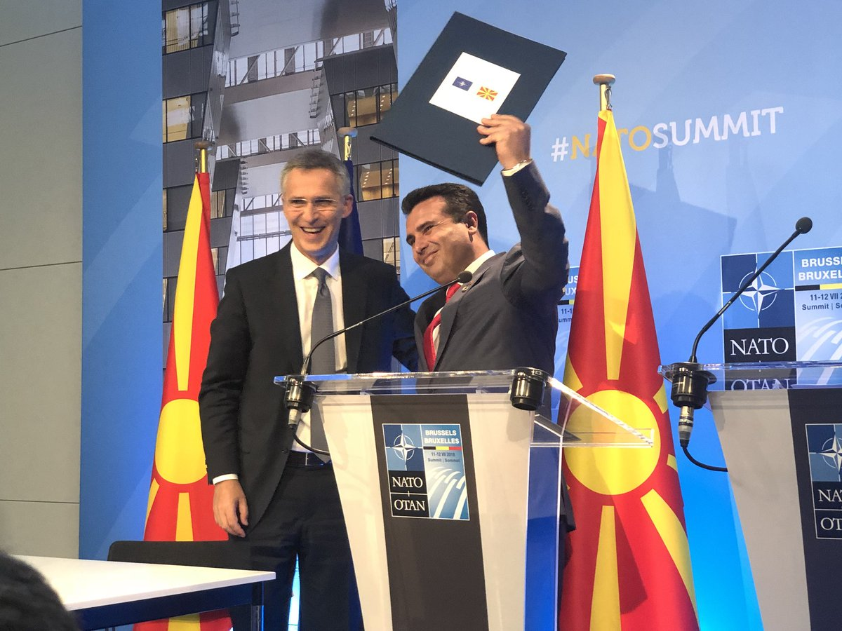 [BREAKING] SG @jensstoltenberg informs PM @Zoran_Zaev 🇲🇰 that #NATO has decided to invite his government in #Skopje to begin accession talks #NATOSummit 🎥 Watch live here: bit.ly/2An2mQ5