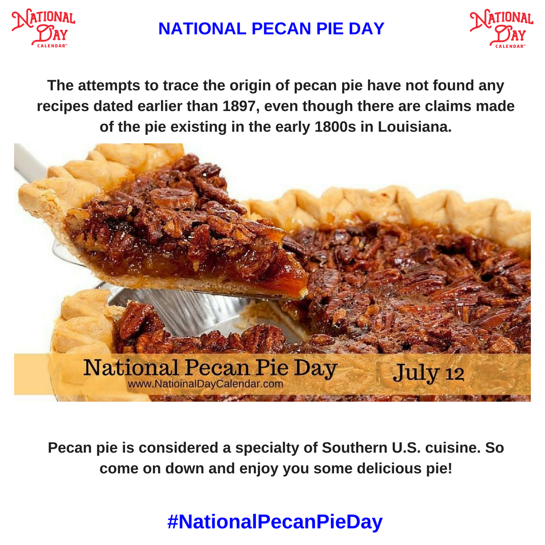 If you live in the South, we are fairly certain #NationalPecanPieDay is one of those days you promote locally. Around the office here at National Day Calendar the more Pecans, the better.  Come discover the recipe we have, ready and waiting just for you...  http:// ow.ly/7sUU30kSczY  &nbsp;  <br>http://pic.twitter.com/5PeSbnEnsR