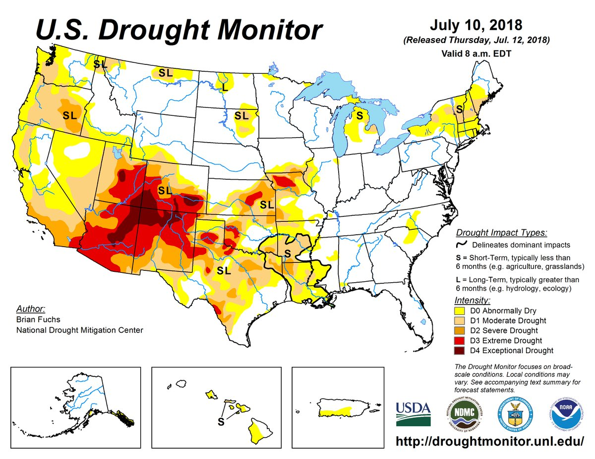 Drought Center On Twitter Us Drought Monitor 7 10 18 Drought Up