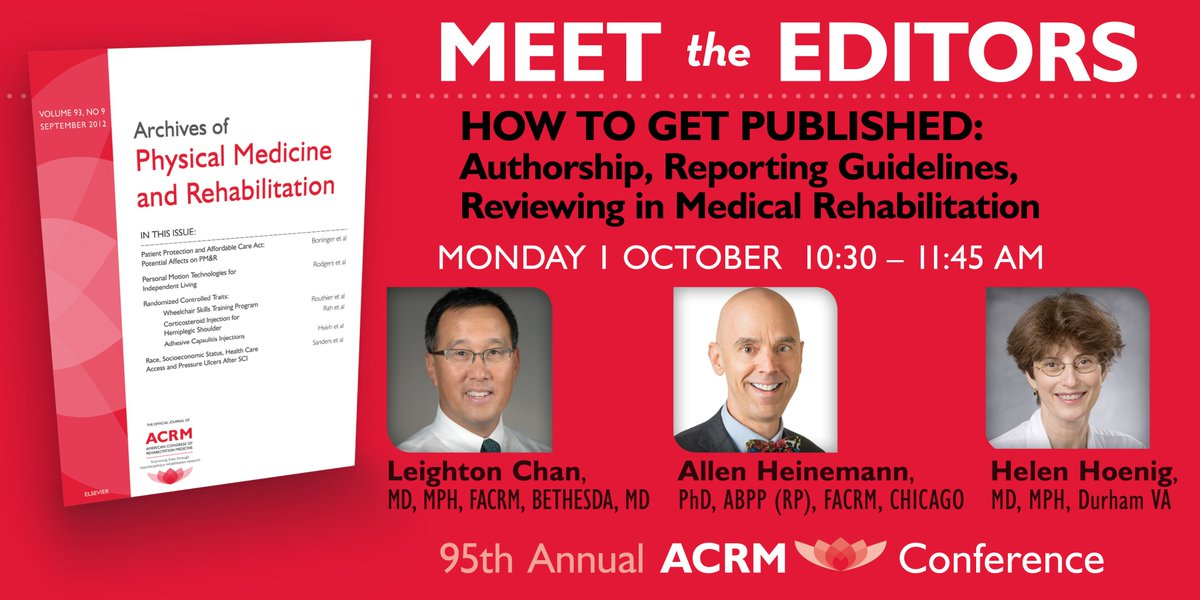 Meet the Editors! This special symposium addresses issues faced by authors in preparing a manuscript for peer review, and by peer reviewers in evaluating manuscripts for publication.  https:// goo.gl/veexmd  &nbsp;    #RehabResearch #ImproveLives #ACRM2018 #RehabScience #Dallas #Texas<br>http://pic.twitter.com/Cx5uH1zEe1