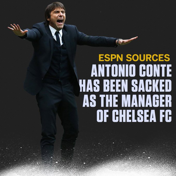 Chelsea have sacked Antonio Conte, sources have confirmed to ESPN FC. Full story: Photo