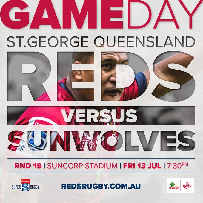 GAME DAY | The Queensland Reds are taking on the Sunwolves at Suncorp Stadium in their final game for 2018 🏉: Queensland Reds v Sunwolves ⌚️: 7:30pm AEST 📍: Suncorp Stadium Tickets: #REDvSUN Photo