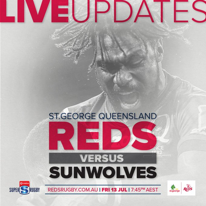 LIVE UPDATES | Not able to make it to the game? Head to our match centre for live scoring updates throughout the match. 🏉: Queensland Reds v Sunwolves ⌚️: 7:45pm AEST 📍: Suncorp Stadium 📺: Fox Sports Match Centre: #REDvSUN Photo