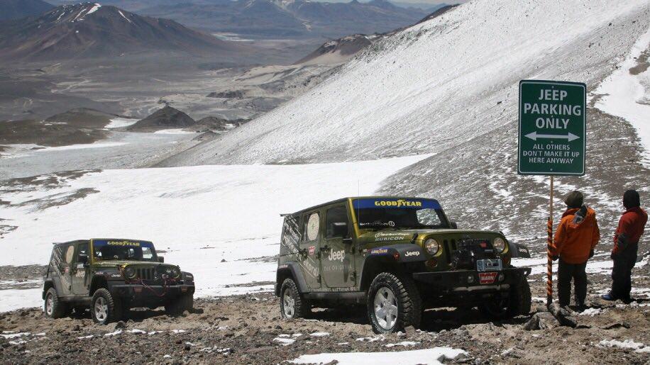Jeepが今まで世界最高高度走行を誇っていたのをジムニーが抜いてJeepが達成した時の標識持って帰った話で笑った。