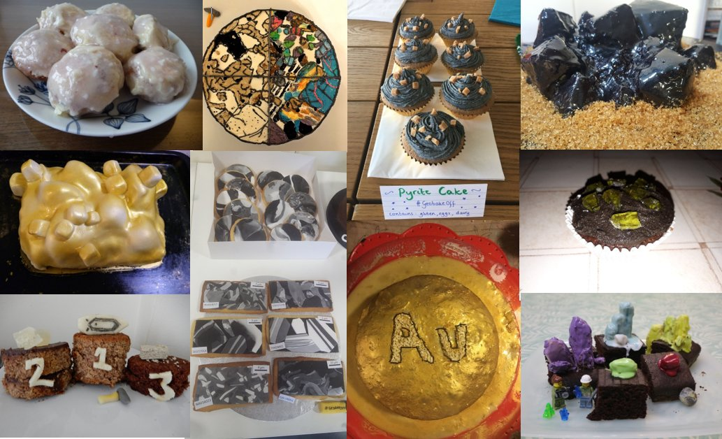 For 70 points, we jumped on the #MinCup bandwagon and challenged you to bake a mineral, any mineral, from that competition. And lots of you did! We had thin sections &amp; hand specimens, from gold to pyrite... #geobakeoff <br>http://pic.twitter.com/UTLXqwzOej