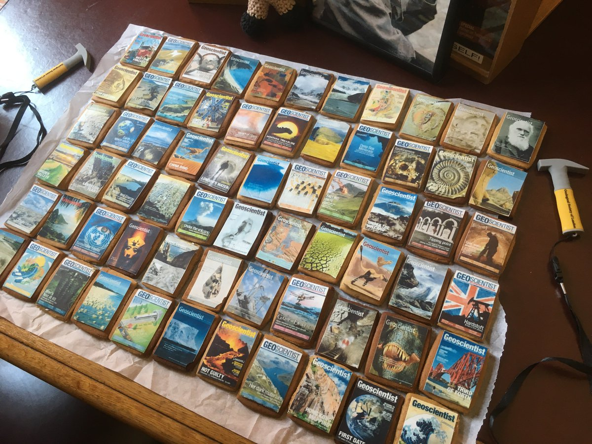 Our 80 point challenge was inspired by the recent retirement of @geoscientistmag Editor @TedNield - a cover of your choice! We had some amazing entries, including a collection of biscuit covers from @longrat &amp; an icing painting of @Profiainstewart by @lhawkinsgeomag #geobakeoff <br>http://pic.twitter.com/C02D83qc1r