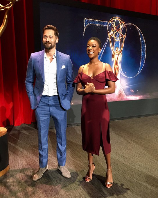 Looks like @Ryan_Eggold and @samirawiley are just about ready to announce this year's #Emmys nominees! Are you watching?  Photo