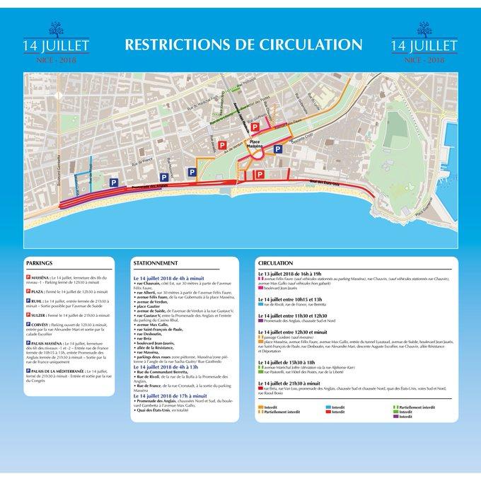 En raison de la journée-hommage du #14Juillet à #Nice06, des modifications de circulation et de stationnement sont à prévoir pour la journée de Samedi. Tous les détails sur le visuel ci-dessous 👇 Photo