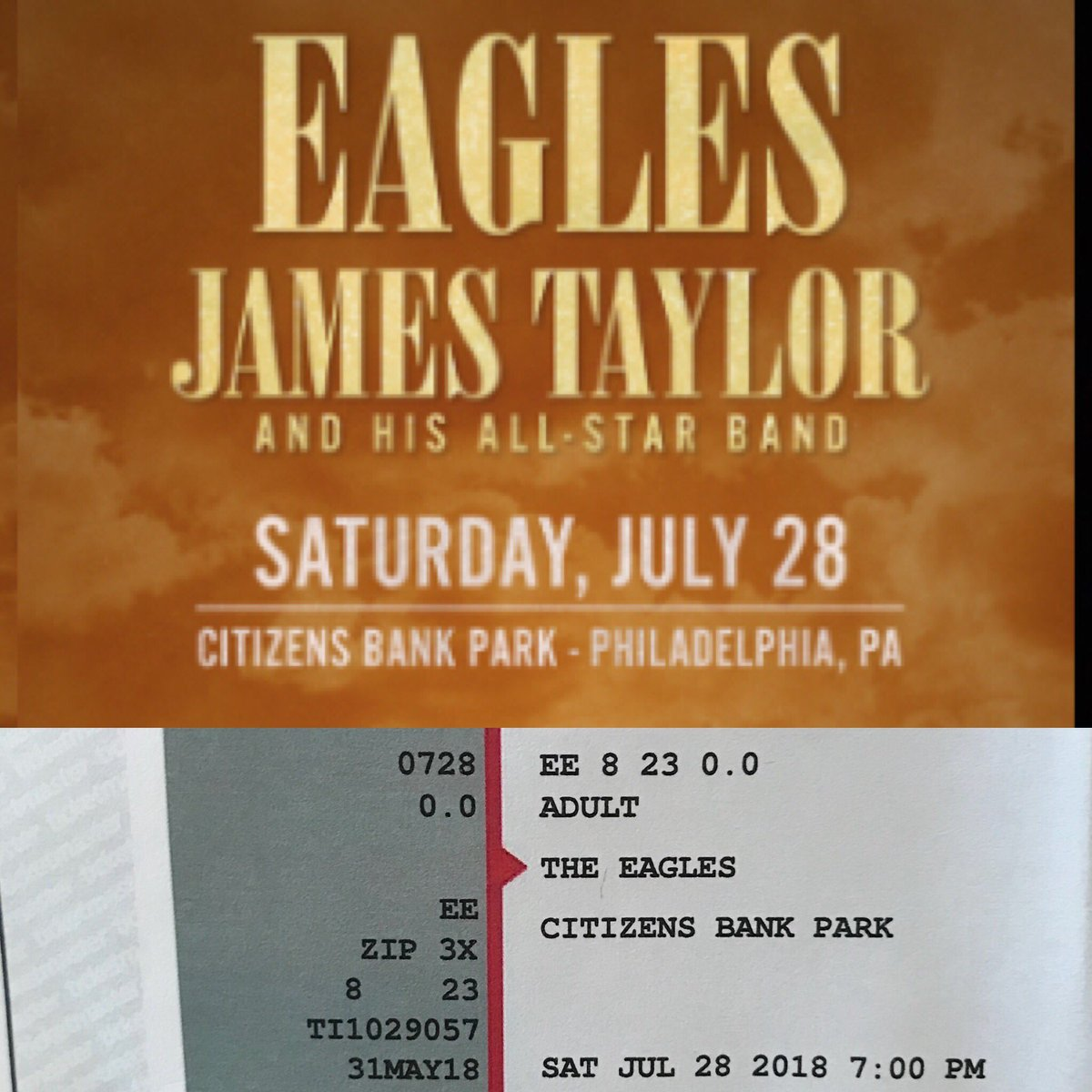 Best birthday gift ever! Going to see the Eagles @VGcom and @JamesTaylor_com in #Philly July 28!!! #dreamcometrue #bucketlist #blessed #excited #musicicons https://t.co/A8JerJZ3hW