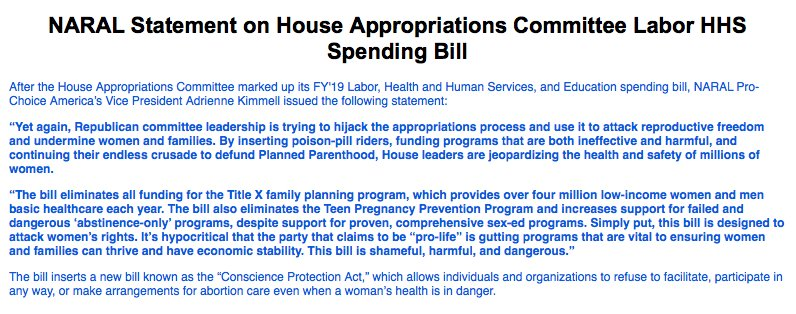 Yet again, Republicans are using appropriations to attack #reprofreedom. This bill would 📍Eliminate #TitleX & Teen Pregnancy Prevention Program 📍Increase funds for abstinence-only programs 📍Allow providers to refuse abortion care even when a pregnant persons life is in danger